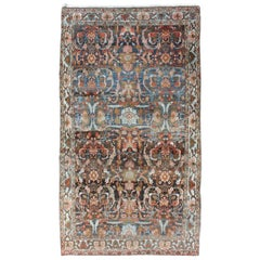 Blue-Toned Antique Persian Hamedan Rug with All-Over Geometric Design