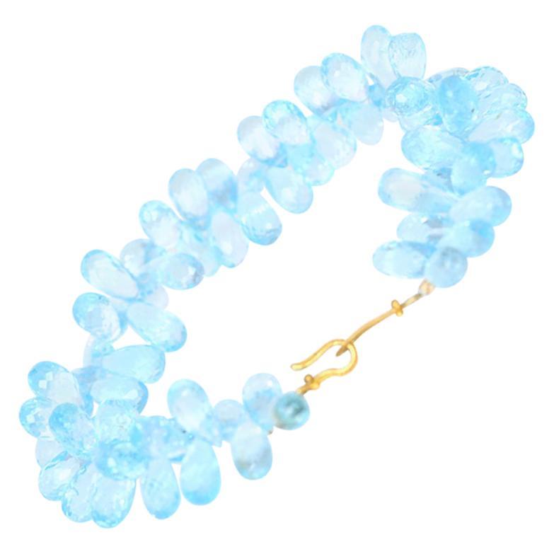 Blue Topaz 200 Carat Briolette Cut Bracelet