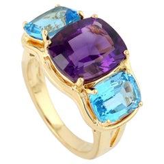 Blue Topaz Amethyst 18 Karat Gold Ring