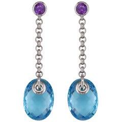 Hammerman Brothers Blue Topaz and Amethyst Dangle Earrings