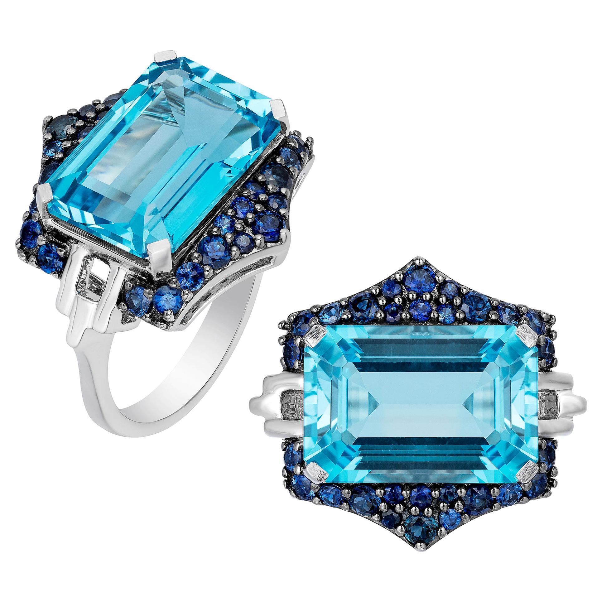 Goshwara Blue Topaz and Blue Sapphire Ring
