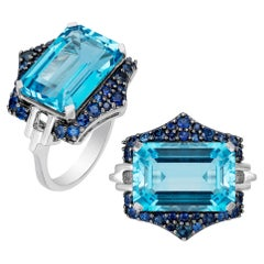 Blue Topaz and Blue Sapphire Ring