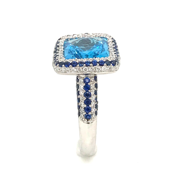 Blue Topaz and Blue Sapphire with Diamonds on White Gold 18 Karat Cocktail Ring For Sale 4