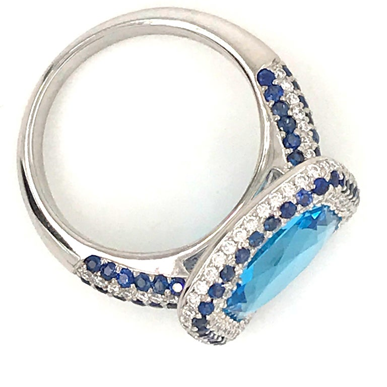 Blue Topaz and Blue Sapphire with Diamonds on White Gold 18 Karat Cocktail Ring For Sale 5