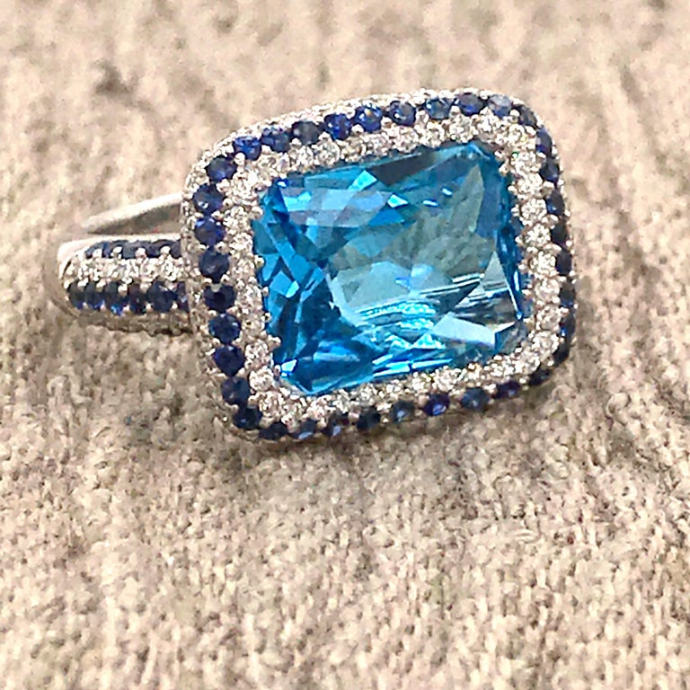 Blue Topaz and Blue Sapphire with Diamonds on White Gold 18 Karat Cocktail Ring For Sale 6