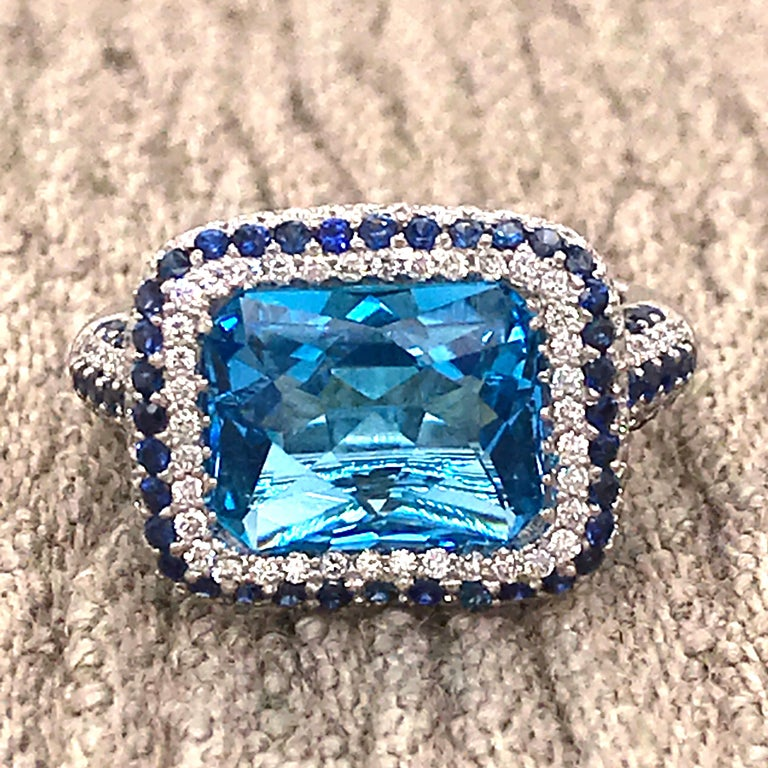 Blue Topaz and Blue Sapphire with Diamonds on White Gold 18 Karat Cocktail Ring For Sale 7