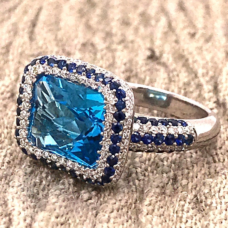 Blue Topaz and Blue Sapphire with Diamonds on White Gold 18 Karat Cocktail Ring For Sale 8
