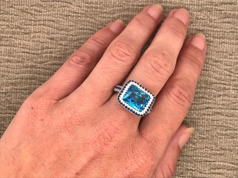 Blue Topaz and Blue Sapphire with Diamonds on White Gold 18 Karat Cocktail Ring For Sale 9