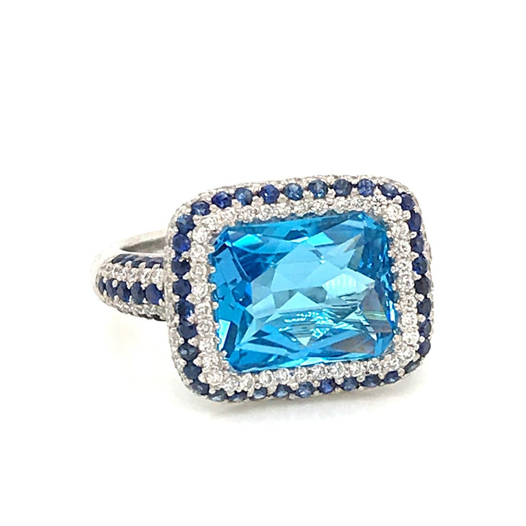 Discover this creation with blue topaz radiant shape, Sapphire and Diamonds  Blue Topaz 3.47 ct With Diamonds Color G-VS / 0.83 ct  White Gold 18 k / 8.4 grams  US size 7 French Size 54