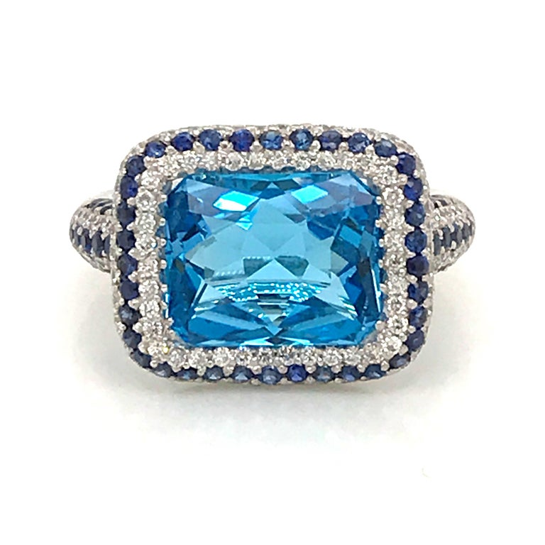 Contemporary Blue Topaz and Blue Sapphire with Diamonds on White Gold 18 Karat Cocktail Ring For Sale