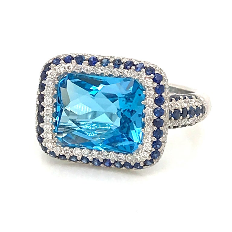 Radiant Cut Blue Topaz and Blue Sapphire with Diamonds on White Gold 18 Karat Cocktail Ring For Sale