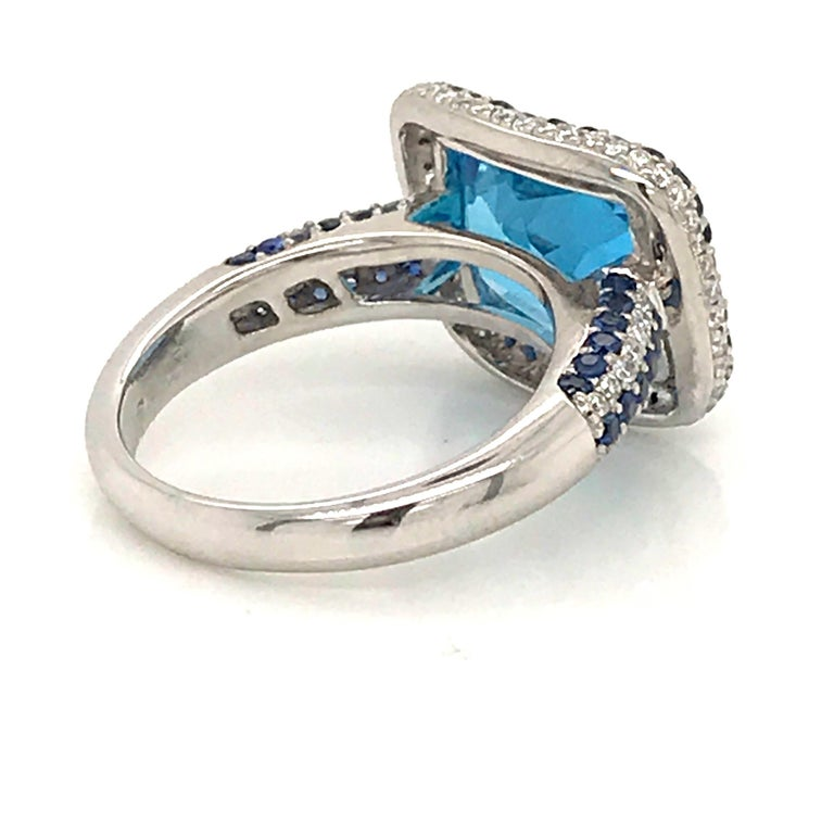 Blue Topaz and Blue Sapphire with Diamonds on White Gold 18 Karat Cocktail Ring For Sale 1
