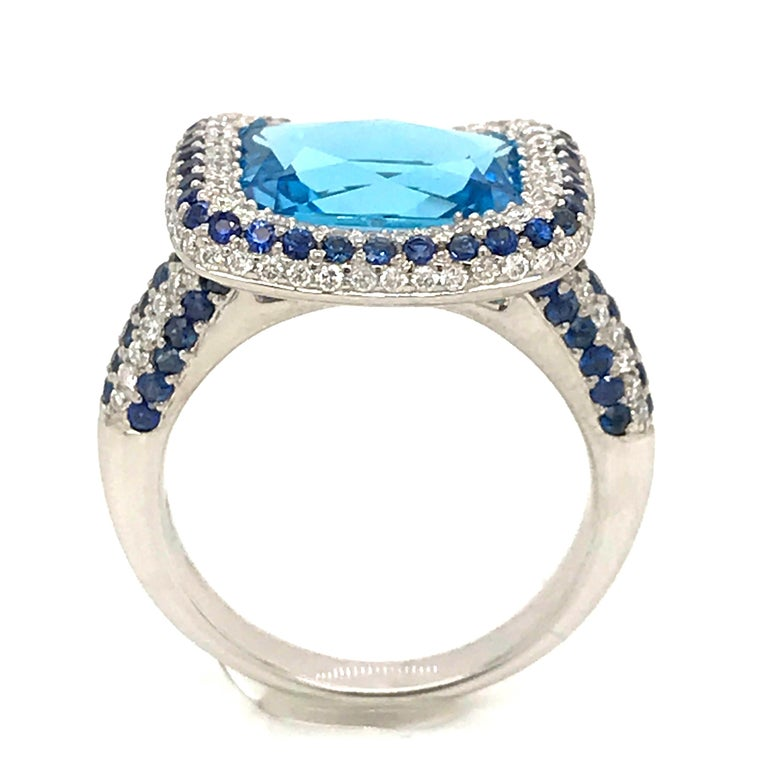 Blue Topaz and Blue Sapphire with Diamonds on White Gold 18 Karat Cocktail Ring For Sale 2