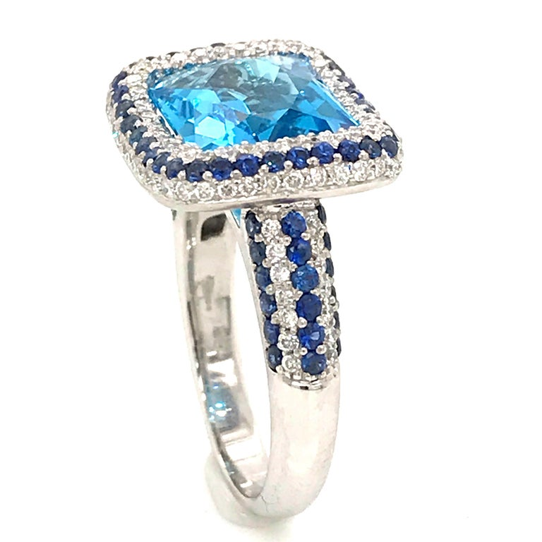 Blue Topaz and Blue Sapphire with Diamonds on White Gold 18 Karat Cocktail Ring For Sale 3