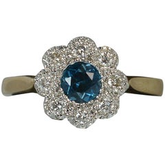 Blue Topaz and Diamond 9 Carat Gold Flower Cluster Ring