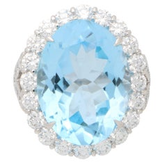 Blue Topaz and Diamond Cluster Cocktail Ring Set in Platinum