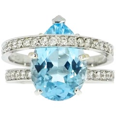 Blue Topaz and Diamond Cocktail Ring
