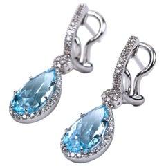 Blue Topaz and Diamond Dangle Earrings White Gold