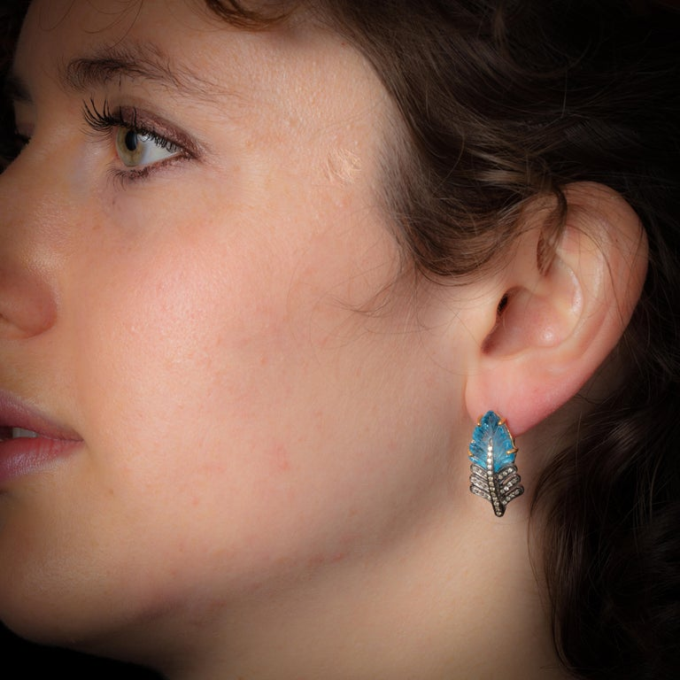 Blue Topaz and Diamond Leaf Drop Earrings In Excellent Condition For Sale In Nantucket, MA