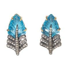 Blue Topaz and Diamond Leaf Drop Earrings