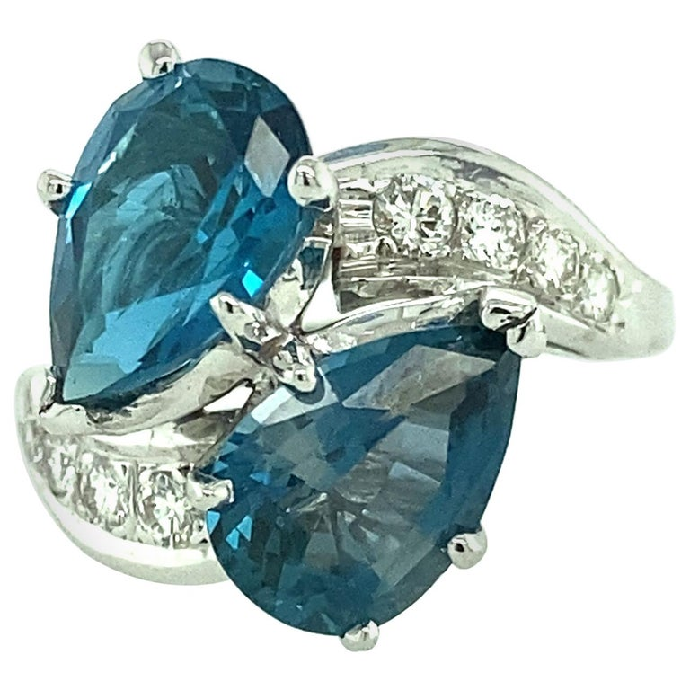 Blue Topaz and Diamond Ring For Sale