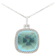 Blue Topaz and Diamond Sugar Loaf Pendant Necklace Set in 18 Karat White Gold