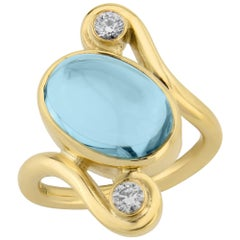 Blue Topaz and Diamond Yellow Gold Cocktail Ring