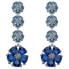 Blue Topaz and Light Blue Topaz Blossom Renaissance Drop Earrings