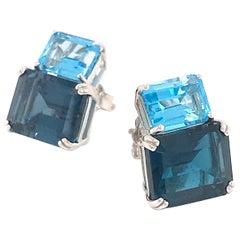 Blue Topaz and London Topaz on White Gold 18 Karat Earring