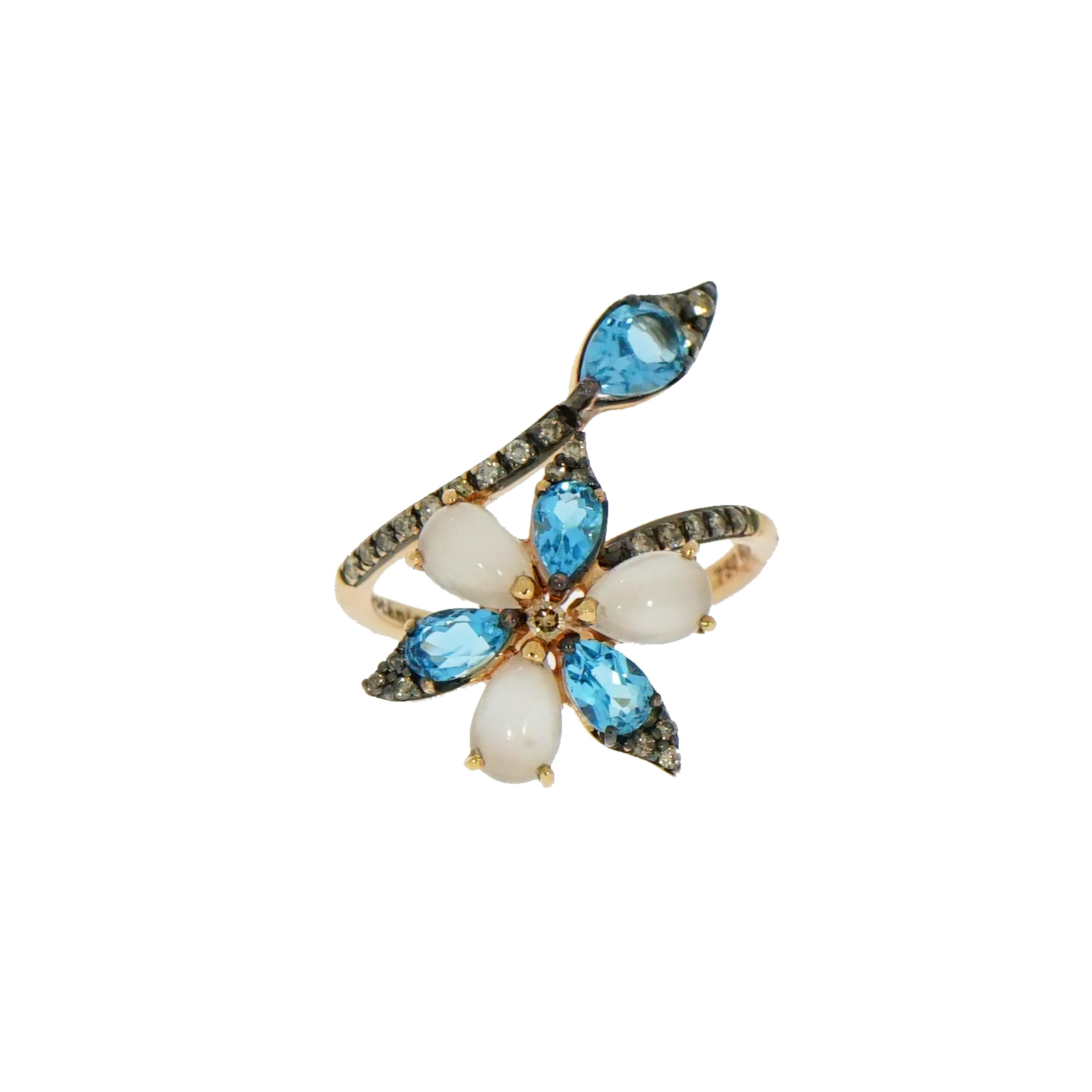 Blue Topaz and Moonstone Flower Rose Gold Ring