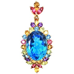 Blue Topaz and Multicolored Gemstone Yellow Gold Pendant