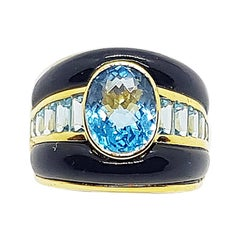 Blue Topaz and Onyx Ring set in 18 Karat Gold Settings