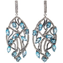Blue Topaz and Pave Diamond Chandelier Dangle Earrings