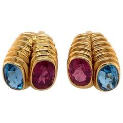 Blue Topaz and Pink Tourmaline Clip Earrings