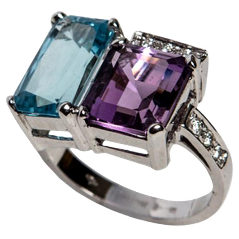 Blue Topaz and Purple Amethyst White Gold 18 Karat Ring with White Diamonds For Sale