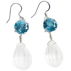 Blue Topaz and Quartz Crystal Earrings