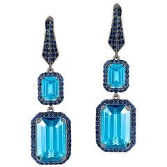 Goshwara Emerald Cut Blue Topaz And Sapphire Earrings