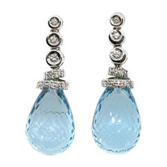 Blue Topaz and White Diamond Earrings in 18 Karat White Gold