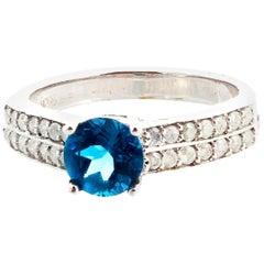 Gemjunky Delicate Petite Blue Topaz and White Diamond White Gold Ring