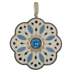 Blue Topaz, Blue Sapphire and Diamond Studded Enamel Pendant in 14 Karat Gold
