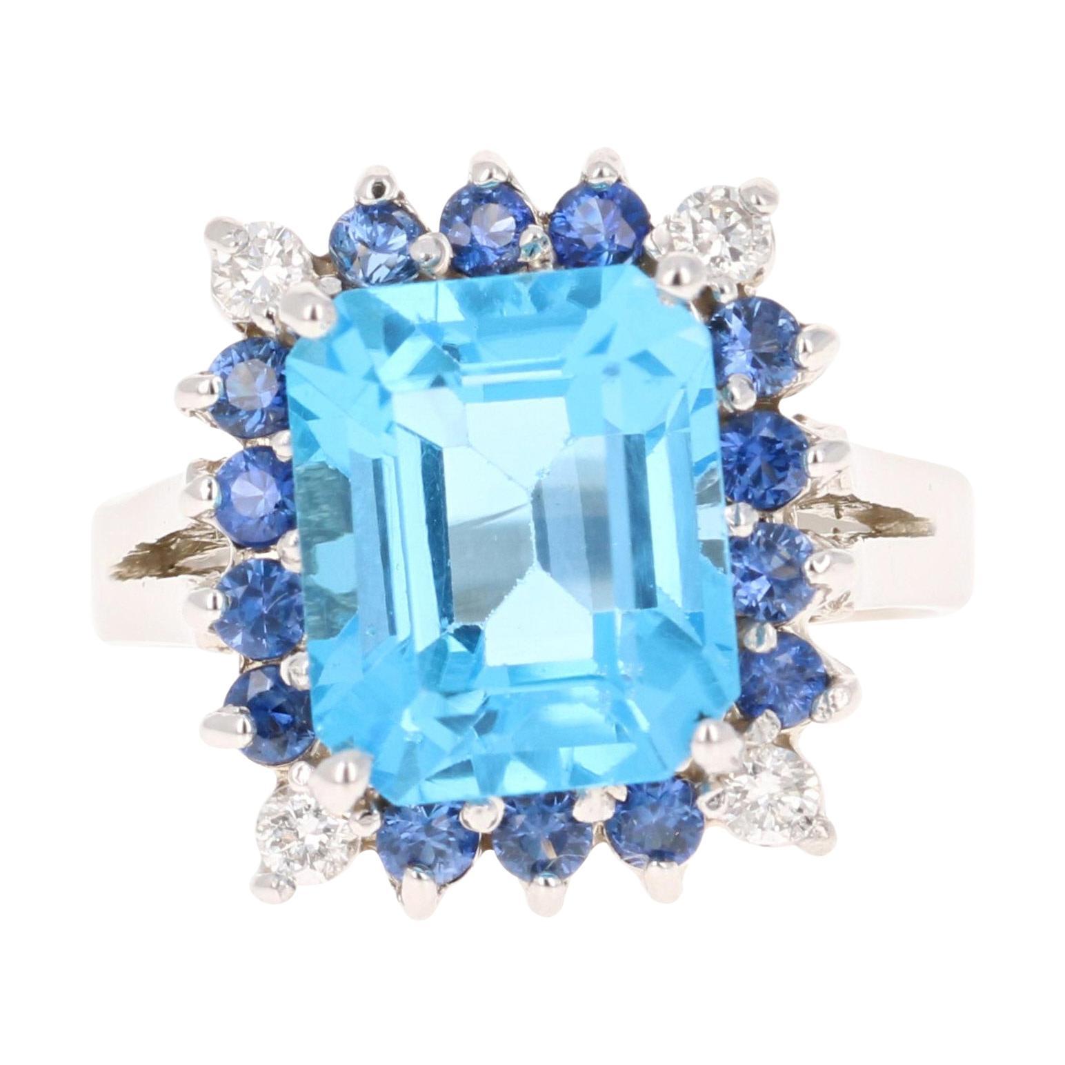 Blue Topaz Blue Sapphire Diamond 14 Karat White Gold Ring