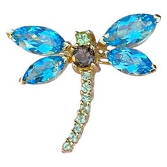 Blue Topaz, Brown Topaz and Peridot Dragonfly 14 Karat Gold Pendant or Brooch