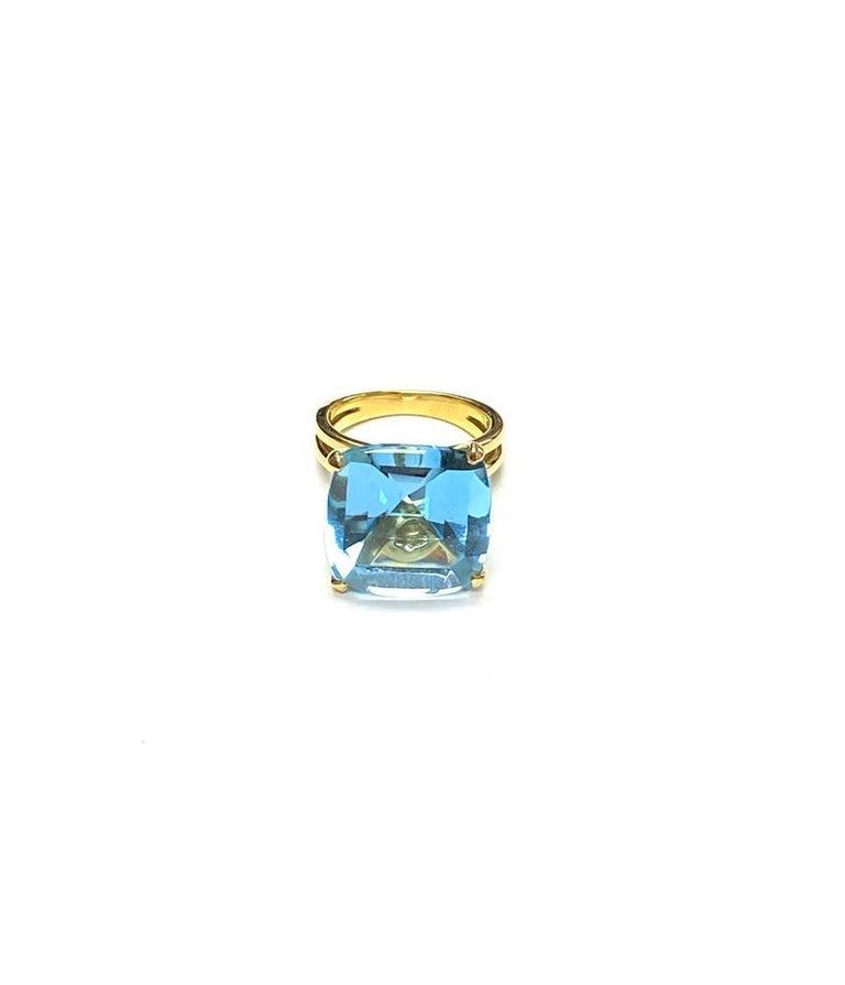 Princess Cut Goshwara Cushion Blue Topaz Ring For Sale