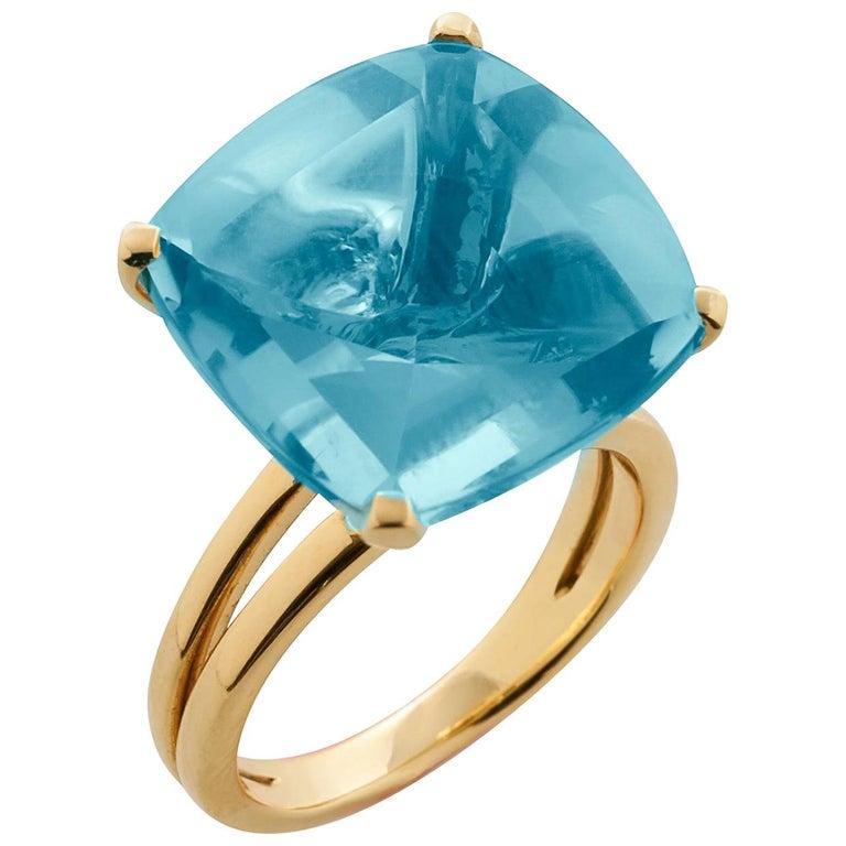 Goshwara Cushion Blue Topaz Ring For Sale