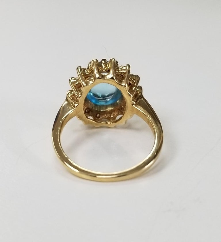 Blue Topaz Cabochon And Diamond Ring For Sale At 1stdibs