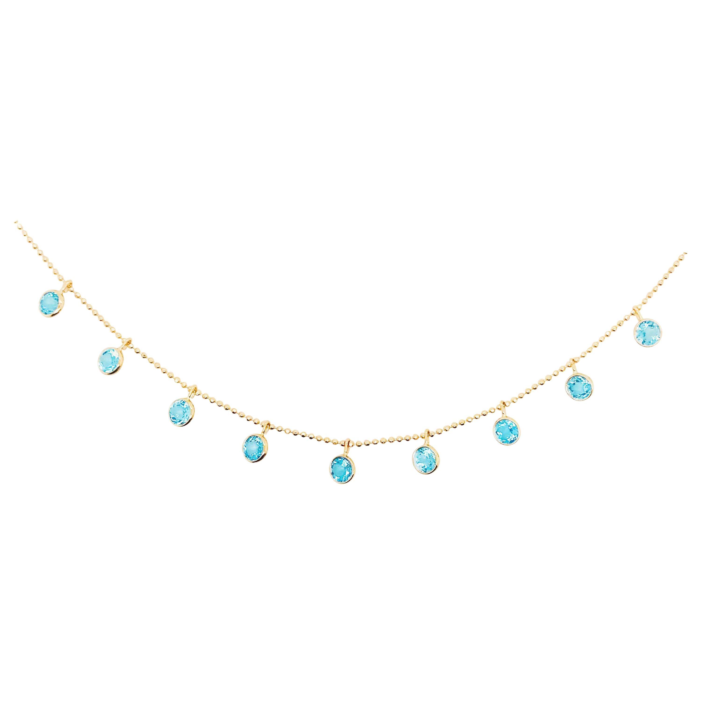 Blue Topaz Charm Necklace 14K Yellow Gold 2.25 Carat Round Topaz Gemstones