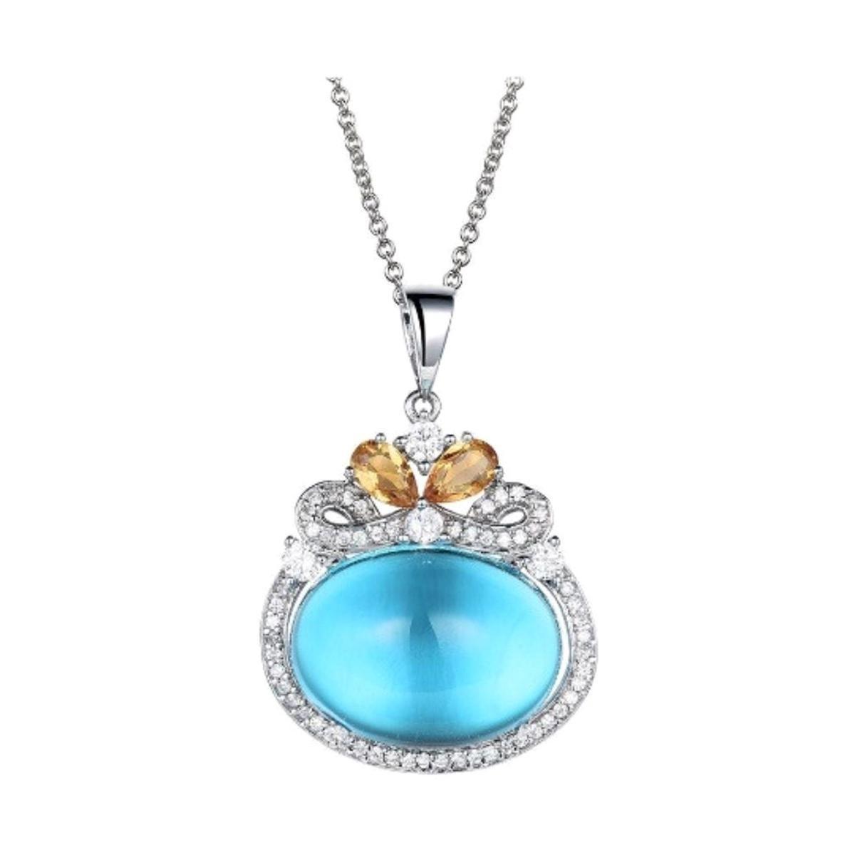 Blue Topaz Citrine Necklace Sterling Silver