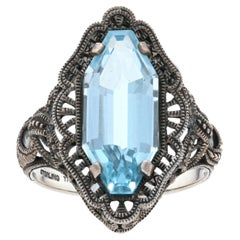 Blue Topaz Cocktail Solitaire Ring, Sterling Silver