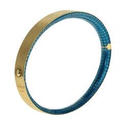 Blue Topaz Colored Enamel 18 Karat Yellow Gold Kaleidoscope Bangle