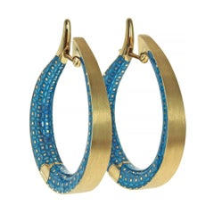 Colored Enamel 18 Karat Yellow Gold Kaleidoscope Hoop Earrings